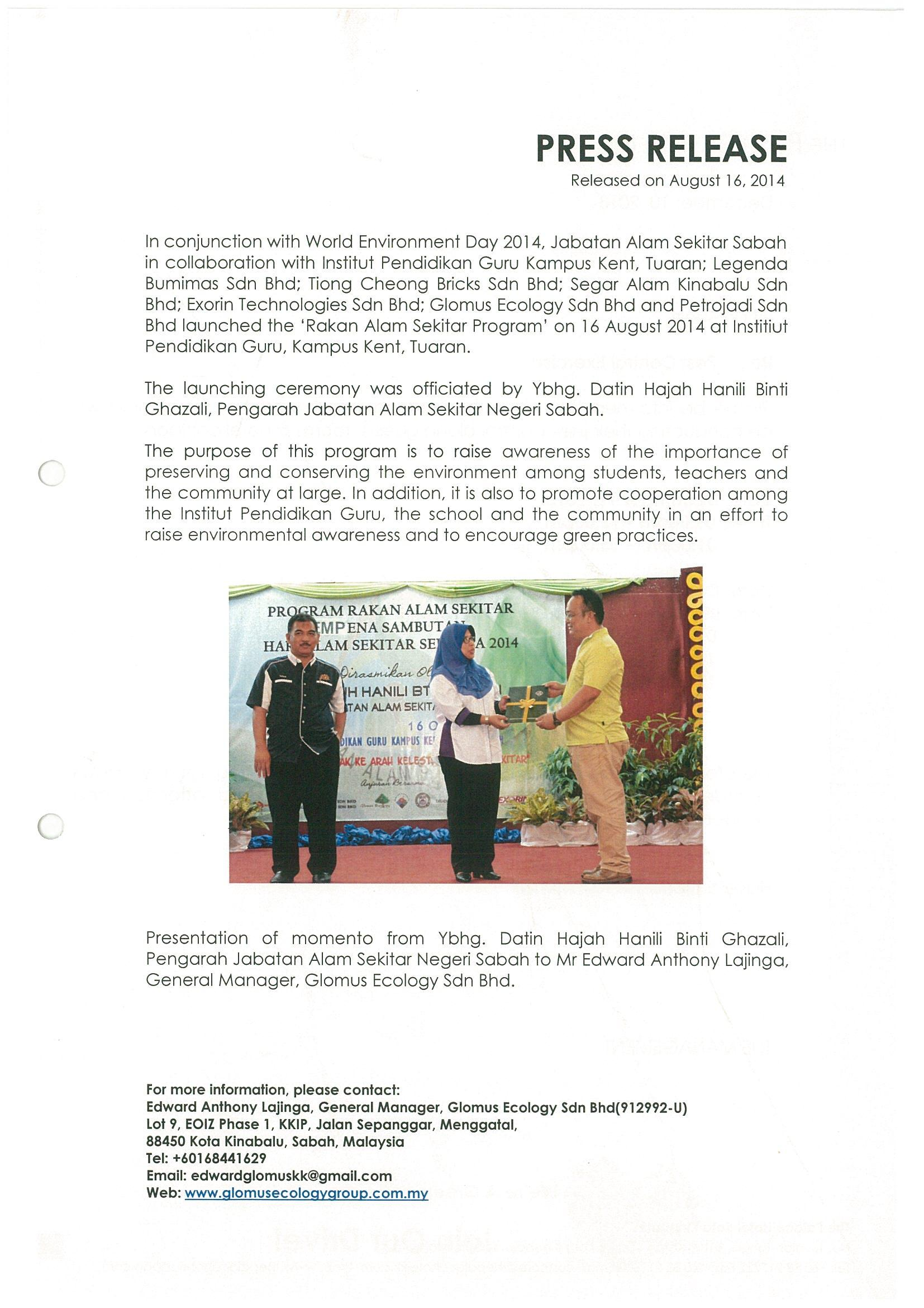 Press Release Glomus Ecology Sdn Bhd